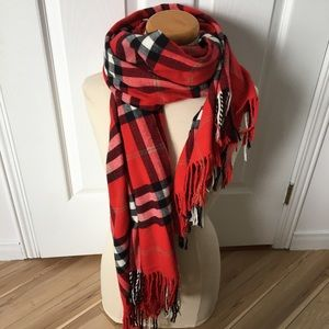 Soft Plaid scarf large red black